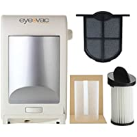 EyeVac EVPRO Design White Professional Touchless Vacuum Cleaner + Extra Reusable Exhaust Filter + Extra HEPA Pre-Motor Filter + Pre-Motor Flexible Mesh Filter Screen Accessories Bundle