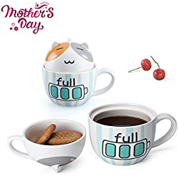 Cat Coffee Mug Funny Cute Gifts for Women Lovely 3D Animal Gift Mugs Ceramic Tea Cup with Lid & Spoon Novelty Kids Mug Cup Birthday Gifts for Friends/Girlfriend/Cat Lovers -15 Oz