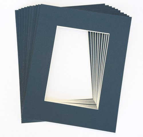 Pack of 10 NAVY BLUE 11x14 Picture Mats Matting with White Core Bevel Cut for 8x10 ()