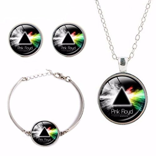 Pink Floyd Logo Glass Domed Pendant Necklace, Earring, Braclet Jewelry - Pink Earrings Floyd