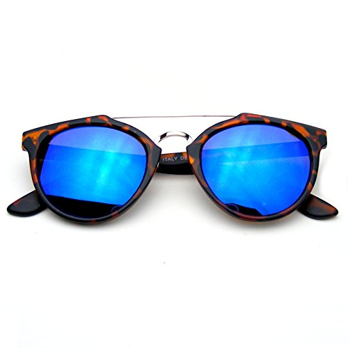 Vintage Inspired Dapper Cross Bar Flash Mirror Lens Sunglasses (Tortoise Blue)