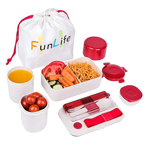 Fun Life Bento Box, Meal Prep Food Storage Containers Set, 6-Piece Eco-Friendly Wheat Straw Leakproof Box Containers, 1100 ML Japanese Bento Lunch Box with Spoon Fork Set, Bento Box for Kids/Teens