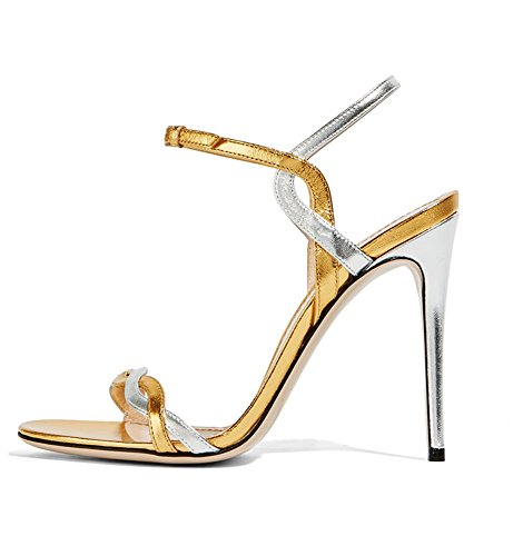 Patent Sling Strap Peep Toe (yBeauty Women's High Heel Sandals Big Size Pumps Peep Toe Ankle Strap Sandals Sling Back Glitter Shoes Patent Leather Gold US8)