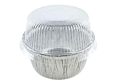 4 oz. Aluminum Foil Cup w/Clear Plastic High Dome Lid 300PK Cupcake/Ramekin Tin by Osislon Series