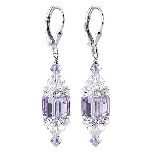 (925 Sterling Silver Lavender Cube & Clear Crystal Drop Earrings Made with Swarovski)