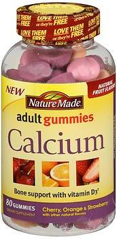 Nature Made Calcium Adult Gummies, Cherry, Orange & Strawberry 80 ea (Pack of 2)
