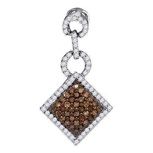White Gold Diamond Square Pendant - 10kt White Gold Womens Round Cognac-brown Color Enhanced Diamond Diagonal Square Pendant 1/3 Cttw