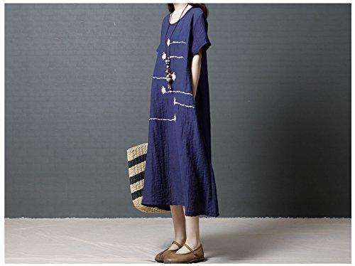Short Sleeve Linen Blue Dress Midi Women's Long Tunic Loose n6UCqwFH