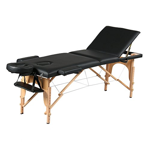 Mefeir 84'' 3 Fold Portable Folding Massage Table Package Stationary Salon SPA Tattoo Bed All Inclusive,Adjustable Height Beech Leg,Headrest,Carry Case,Black