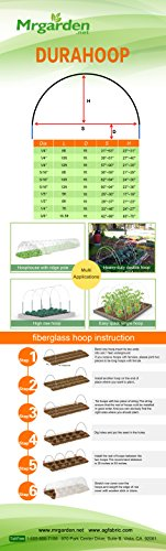 1/5''Dia, 6ft long hoops for Grow Tunnel, Greenhouse, Support For Plant Cover And Seedling Guard White Color, Plant Cover &Frost Blanket For Season Extension Support,40pack by RowTunnel (Image #5)