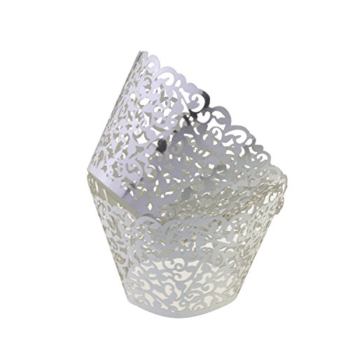 Filigree Artistic Bake Cake Paper Cups Little Vine Lace Laser Cut Liner Cupcake Wrappers Baking Cup Muffin Holder Case for Wedding/Birthday/Afternoon Tea Party Decoration (50, Sliver)