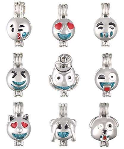 SHUHONEY 9 Pcs Mixed Funny Expression Pearl Bead Cages Pendant - Jewelry Making Charms for Kids(NO-Duplicate)