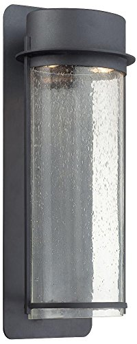 Florentine Black Finish (Minka Lavery 72253-66 2 Light Wall Mount in Black Finish w/ Clear Seeded Glass)