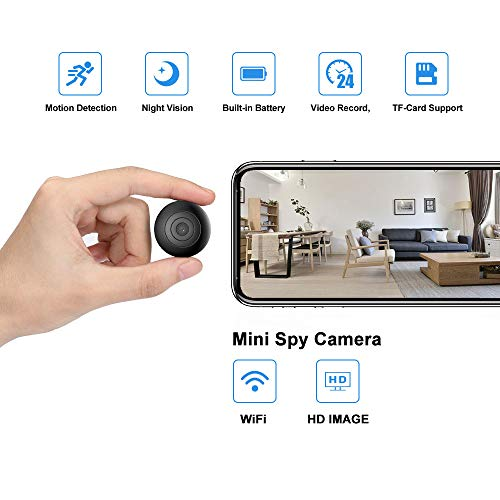 OUCAM Hidden Spy Camera Wi-Fi Surveillance Camera Mini Hidden Camera Built-in Battery Video Recorder Indoor/Outdoor Camera for Baby/Pet/Home/Office with iOS and Android App