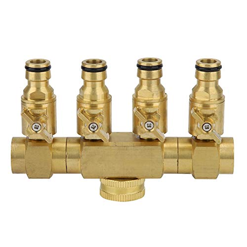 - Mumusuki Garden Hose Splitter Connector Duty Brass 4 Way Hose Manifold Hose Pipe Adapter Garden Irrigation