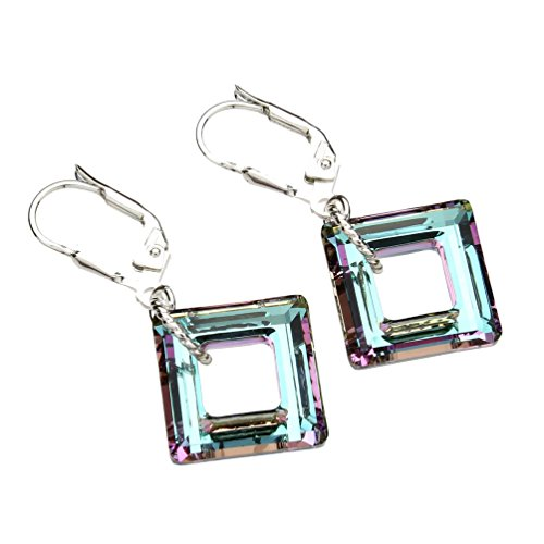 Leverback Purple Earrings (Sterling Silver Leverback Earrings Square Made with Swarovski Crystals)
