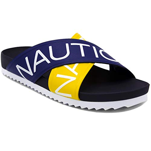 (Nautica Women's Side Deck Cross Strap Slide Sandal Flip-Flop Boat Slide-Bright Coblat/Yellow-8 )