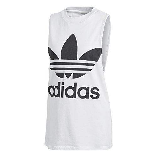 adidas Women's Trefoil Tank Top, White/Black, S