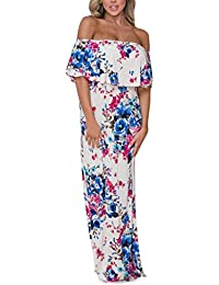 Womens Side Slit Off Shoulder Ruffled Long Printed Foral Maxi Dress with Pockets
