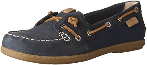 Sperry Top-sider Womens Coil In Pelle Edera / Canvas Navy In Tela Da Barca