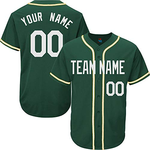 - Hunter Green Customized Baseball Jersey for Men Full Button Stitched Team Name & Numbers,White Size S