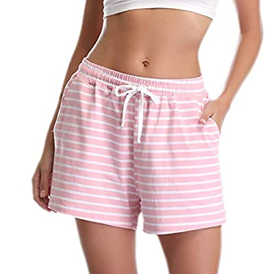 Vlazom Women's Pajama Short Bottoms Solid and Striped Sleeping Shorts Cotton Lounge Casual Pants for Yoga Gym Running