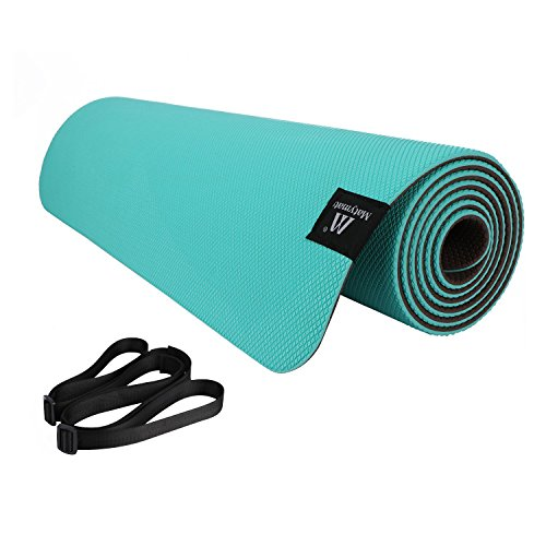 "Matymats Non Slip Super High Density 100% TPE Yoga Mats with Carrying Strap 1/4''(6mm) Thick Mat with Great Grips for Yoga Pilates Exercise Workout 72"" X 24"" (Grass Green)"