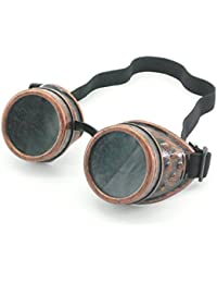 Sepia Cyber Goggles Steampunk Welding Goth Cosplay Vintage Goggles Rustic (Copper)