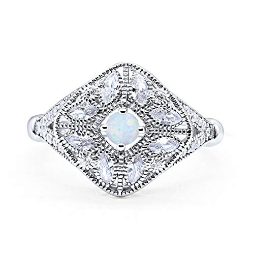 - Blue Apple Co. Art Deco Ring Marquise Filigree Created White Opal Round Cubic Zirconia 925 Sterling Silver, Size-5