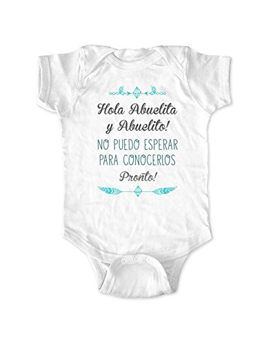 Hola Abuelita y Abuelito! No puedo Esperar Para Conocerlos Pronto! - spanish surprise baby birth announcement bodysuit grandparents (White, Newborn)