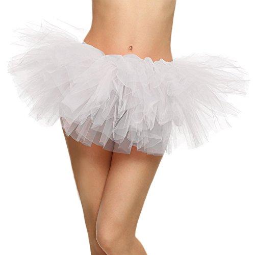 SRANDER Women's Classic 5 Layered Tulle Tutu Skirt white (White Tutu Party City)