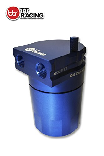 TT Racing Aluminum Oil Catch Can Reservoir Tank Baffled DUAL Chamber Filter Blue 0.5L