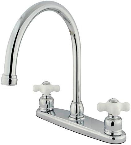 Kingston Brass KB721PXLS 8 Centerset Kitchen Faucet, 8-3 4 in Spout Reach, Polished Chrome