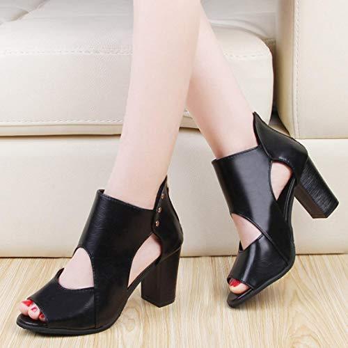 e Scarpe Nero con Autunno Boot Donna Donna in cerniera Spesso pelle Classico Stivali sandali Elecenty singoli Tacco Stivaletti zBTnqAOO