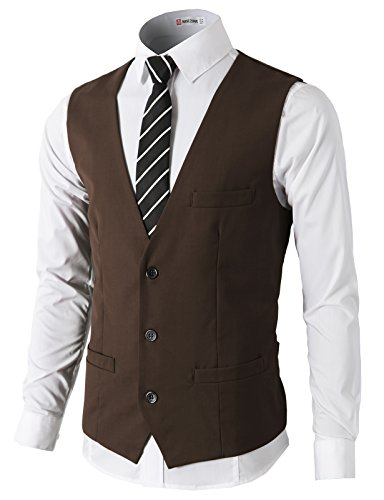 H2H Mens Formal Slim Fit Premium Business Dress Suit Lightweight Vests Brown US M/Asia L ()