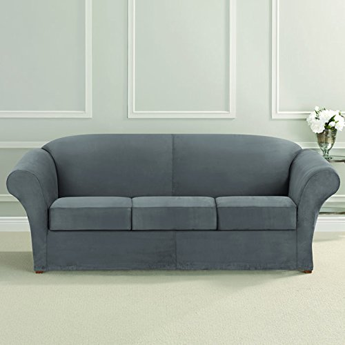 Ultimate Heavyweight Stretch Faux Suede 3 Box Cushioned Sofa (Faux Suede Slipcover)
