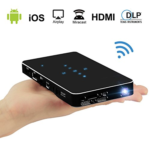 Haidiscool DLP Projector, Pico Pocket LED Mobile DLP Multimedia Video Projector with HDMI/USB/SD for iPhone Android Smartphone Laptop PC, Home Cinema Entertainment, Outdoor Movie & Gaming