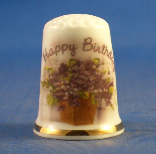 Porcelain China Collectable Thimble - Happy Birthday Floral - Free Gift Box