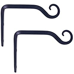 GrayBunny GB-6835B Hand Forged Straight Hook, 6 Inch, Black, 2-Pack, For Bird Feeders, Planters, Lanterns, Wind Chimes, As Wall Brackets and More!