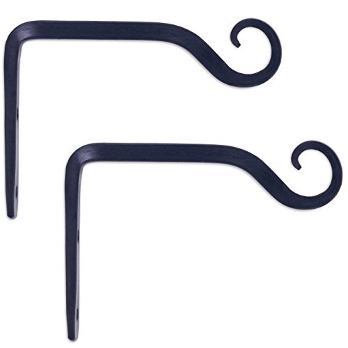 GrayBunny GB-6835B Hand Forged Straight Hook, 6 Inch, Black, 2-Pack, For Bird Feeders, Planters, Lanterns, Wind Chimes, As Wall Brackets and More! - Light Indoor Wall Bracket