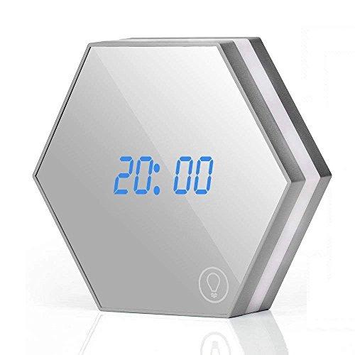 MUTANG Mirror Surface Alarm Clock Detección táctil Smart Clock LED Pantalla Digital con luz Nocturna, termómetro,...