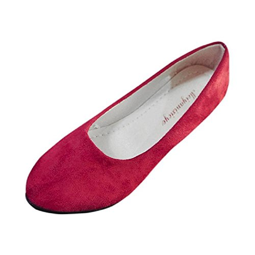 FTXJ Office Lady Women Pointed Toe Classic Slip On Business Casual Flat Shoes Red lJzsnwLznC