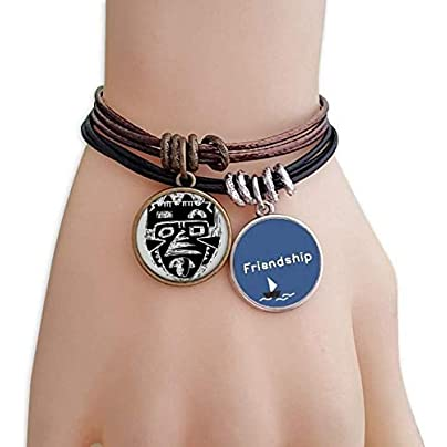 Horrible Indian Skeleton Totem Tattoo Friendship Bracelet Leather Rope Wristband Couple Set Estimated Price -
