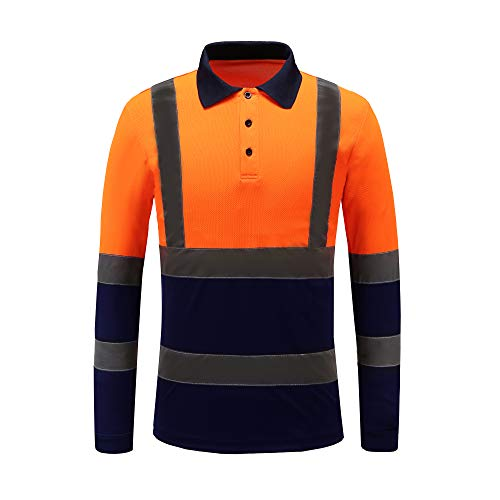 Construction Polo Shirts Quick-Dry Moisture Wicking Mesh Long Sleeve Safety Polo Tee,Orange, -