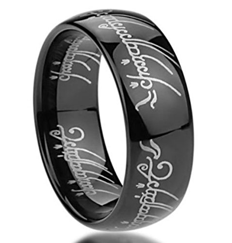 King Will Mens 8mm Tungsten Carbide Ring Black Lord of the Rings Laser Pattern High Polished(9) (Lord Of Rings Rings)