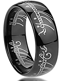 anillo del Señor de los Anillos fabricado en carburo de tungsteno negro de 8mm y alto pulido