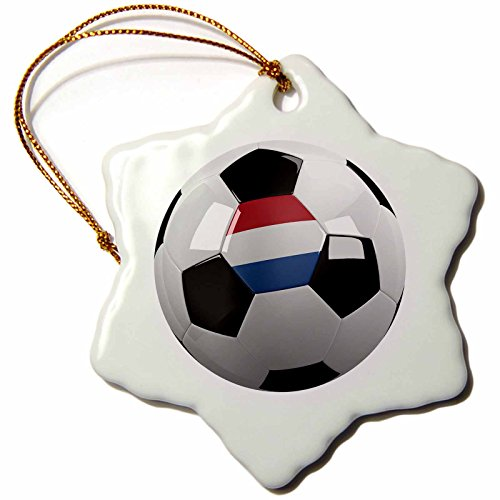 3dRose orn_157025_1 Soccer Ball with The National Flag of The Netherlands on it Dutch Holland Porcelain Snowflake Ornament, 3-Inch by 3dRose