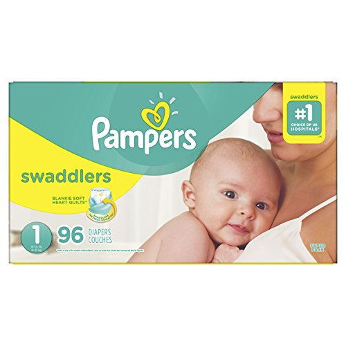 Pampers Swaddlers Disposable Baby Diapers Size 1, Super Pack, 96 Count