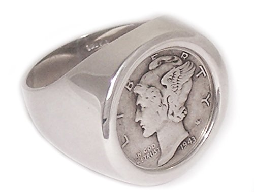 Sterling Silver High Polished Mercury Dime Coin Ring Size 14 Sizes available 6-15 (Mercury Sterling Dime Silver)