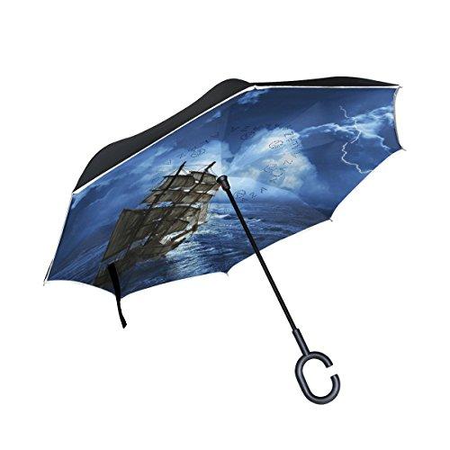 Sailboat Print Art Inverted Umbrella Double Layer Windproof, Waterproof Auto Open Reverse Folding Upside Down Car Umbrellas with C Shape Handle